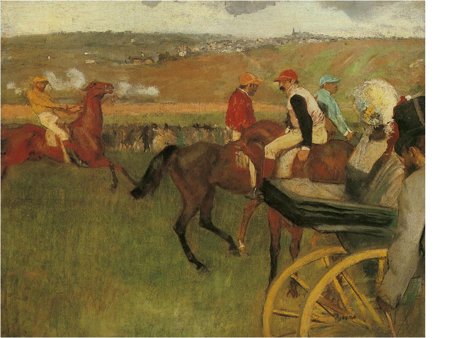 Edgar Degas (1834-1917), Le champ de courses. Jockeys amateurs près d'une voiture, 1876 – 1887, óleo sobre tela, H. 0.652 x L. 0.812, © Museu de Orsay, Paris, França