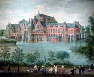 Atribuído-a-Jan-Brueghel-o-Velho.-Os-arquiduques-Isabel-Clara-Eugênia-e-Alberto-no-palácio-de-Tervuren-em-Bruxelas.-Óleo-sobre-tela-c.1621